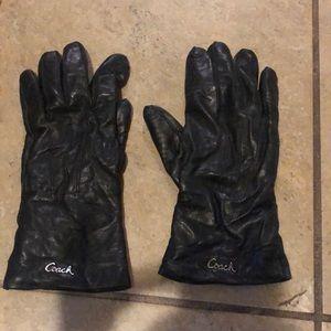 Coach black leather gloves sz. 7 1/2 (M/L)